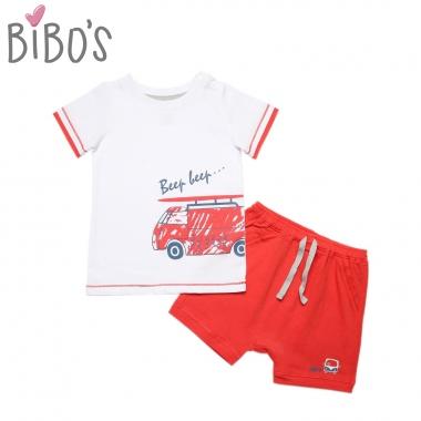 Bộ cộc tay cài vai bé trai Bibo's xe du lịch
