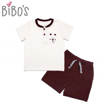 Bộ cộc tay Bibo's bé trai thêu gấu nhỏ trắng nâu