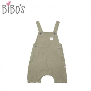 Quần yếm sơ sinh Bibos túi ngực màu rêu dành cho bé trai