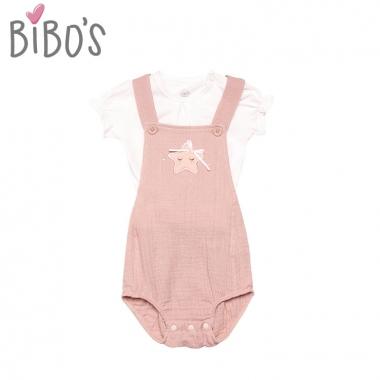 Set body yếm mix áo cộc tay bé gái Bibos hình ngôi sao