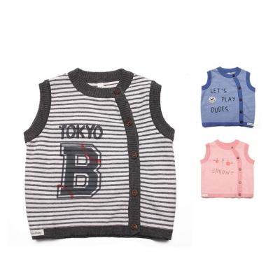 Áo gile len cài lệch Momma hình meow - in chữ - Tokyo B