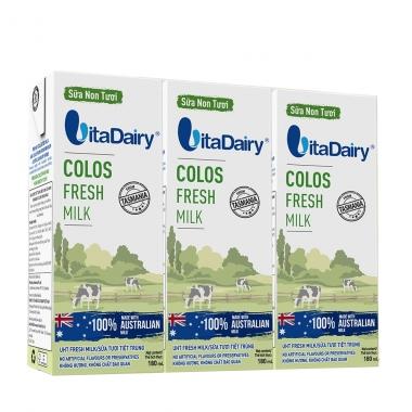 Sữa non tươi VitaDairy Colos Fresh Milk lốc 3 hộp 180ml