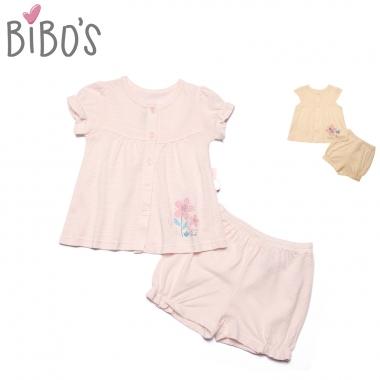 Bộ sơ sinh cài giữa cộc tay bé gái Bibo's hình Bông hoa & Bướm hồng