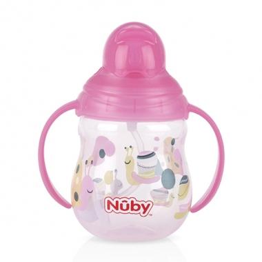 Bình uống nước Nuby ống hút 360 độ 2 tay cầm 270ml