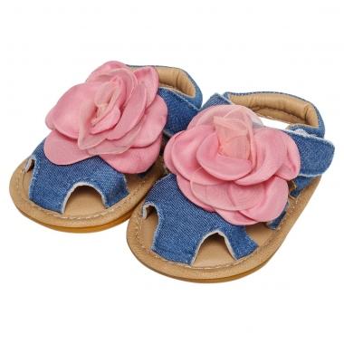 Xăng đan tập đi bé gái rọ xanh hoa hồng LC15