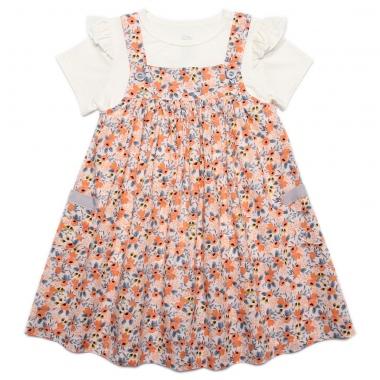 Set váy bé gái Bibo's hoa nhí cam mix áo