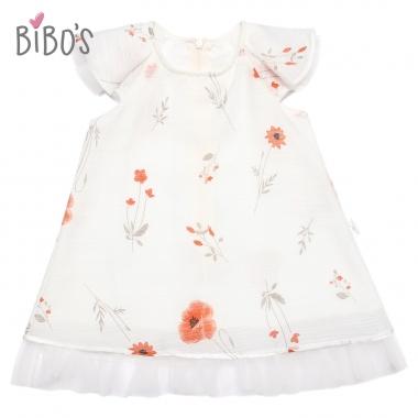 Váy tơ trắng Bibo's điểm hoa phối voan công chúa
